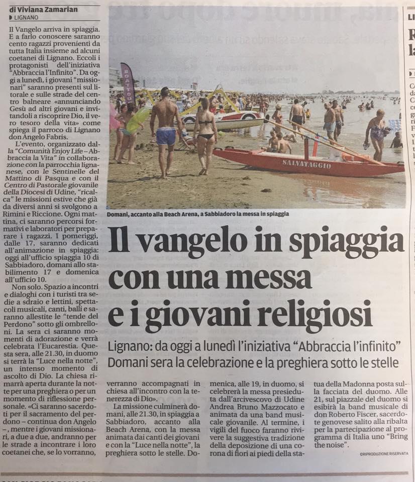 Abbraccia l'infinito Messaggero Veneto Comunità enjoy life
